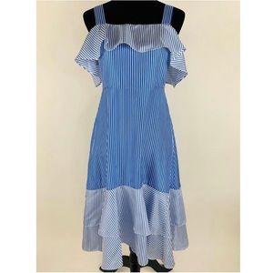 J.CREW Striped Cold Shoulder Silk Dress 4 Ruffle